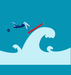 falling from a surfboard business falling off vector image