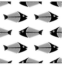 fish bone skeleton seamless pattern sea fishes vector image