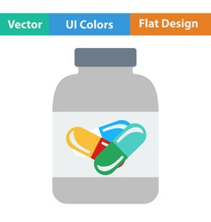 Flat design icon of fitness pills in container vector