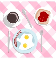 Flat design style breakfast concept background vector