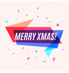 geometrical colorful banner merry xmas speech vector image