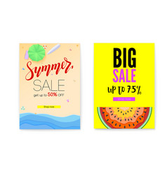 Get up discount summer offer for shopping set of vector