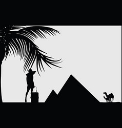 girl beauty silhouette front of pyramid travel vector image