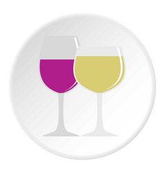 Glasses with red and white wine icon circle vector