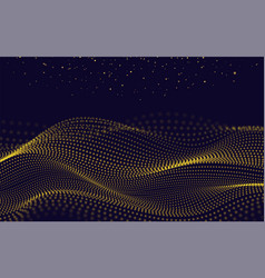 gold waves with particles on dark background vector image