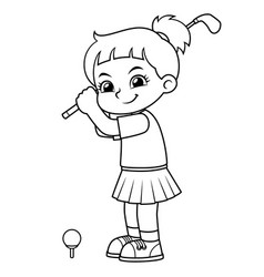 golfer girl ready to shoot bw vector image
