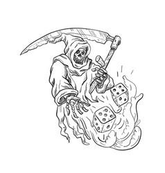 Grim reaper rolling the dice drawing black vector