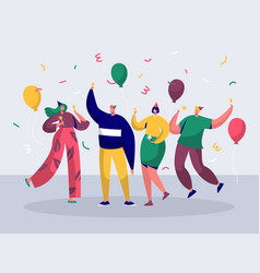group of joyful people celebrating new year party vector image