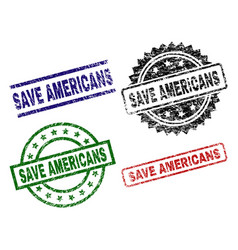 grunge textured save americans stamp seals vector image