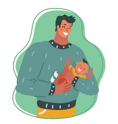 Happy dad with son together vector