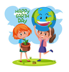 Happy earth day with girls concept vector
