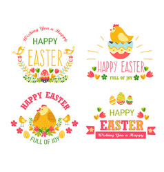 Happy easter isolated icons religious holiday cake vector