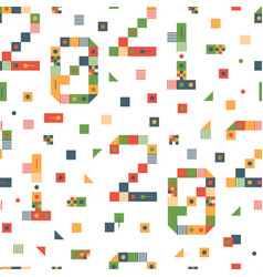 happy new year 2021 pixel art seamless pattern vector image