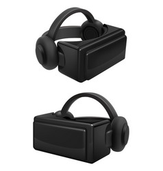 headset and stereoscopic virtual reality goggles vector image