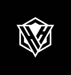 hh logo monogram with triangle and hexagon shape vector image