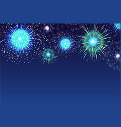 Horizontal blue background with fireworks vector