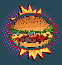 hot burger on fire vector image