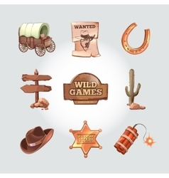 Icons for Wild West computer game Cowboy vector