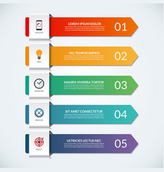 infographic arrows 5 options steps parts vector image