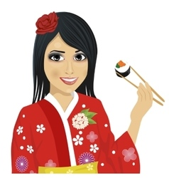 japanese woman eating sushi with chopsticks vector image