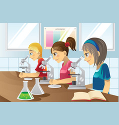 Kids in science lab vector
