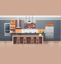 kitchen room interior with modern furniture vector image
