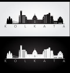 Kolkata skyline and landmarks silhouette vector