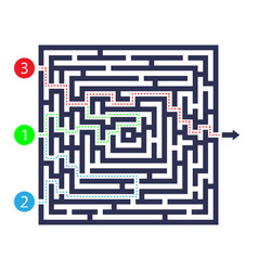 Labyrinth game three entrance one exit and one vector