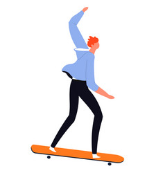 man in casual clothes practicing trick and vector image