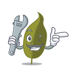 Mechanic bay leaf mascot cartoon vector