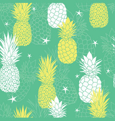 Mint green and yellow pineapples and stars vector