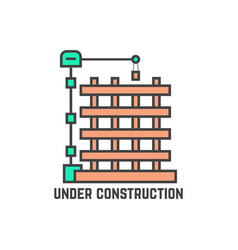 outline building under construction vector image vector image