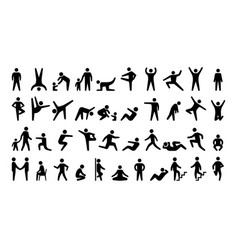 People black icons stickman persons human vector