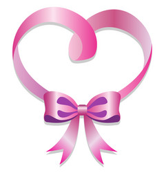 pink ribbon knot and heart on white background vector image