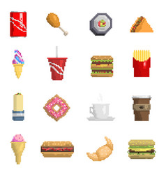 pixel fast food icons fruit sweet sign of vector image