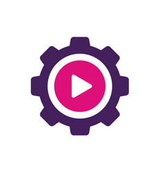 play symbol combined with gear vector image
