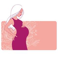 Pregnant woman florals backgr vector