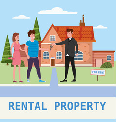 real estate concept house rent service modern vector image