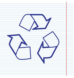 Recycle logo concept navy line icon on vector