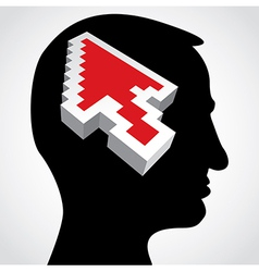 red arrow in a human head vector image