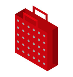 red dotted bag icon isometric style vector image