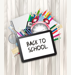 School supplies with a tablet back to online vector