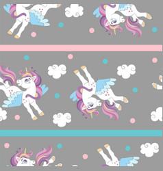 Seamless pattern with joy unicorns gray vector