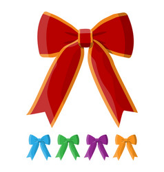 set bow with ribbon vector image