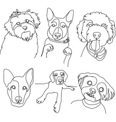set drawing pets in linear style dog breeds vector image