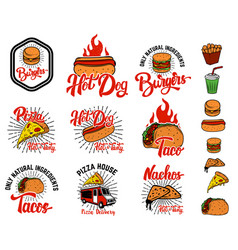 set hand drawn fast food emblems pizza hot dog vector image