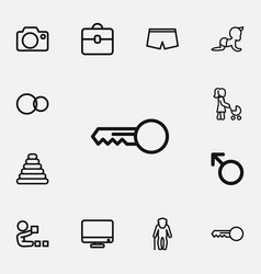 set of 12 editable family outline icons includes vector image