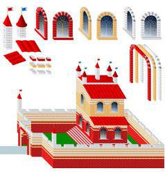 set of bricks and palace vector image