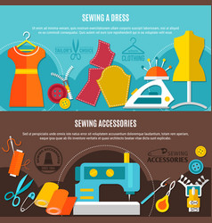 sewing accessories banners set vector image