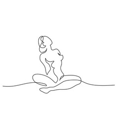 Sketch naked woman sitting one line drawing vector